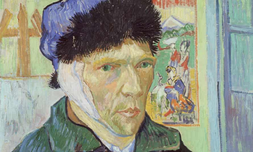 A detail of Vincent van Gogh's 1889 Self-Portrait with Bandaged Ear.