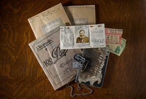 The exhibition includes a range of personal items, from the author's dog tags and official certificate of identity to original manuscript pages