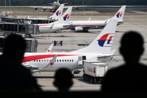 Malaysia Airlines aircraft seen from a viewing gallery at Kuala Lumpur airport