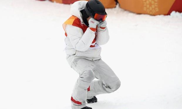 Shaun White celebrating his third Olympics gold win