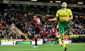 Teemu Pukki marks scoring the opening goal for Norwich against Bournemouth.