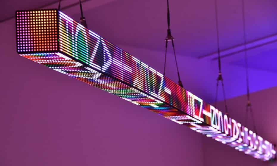 FLOOR, a large-scale work mounted to the ceiling in Jenny Holzer's Artist Rooms at the Tate Modern.