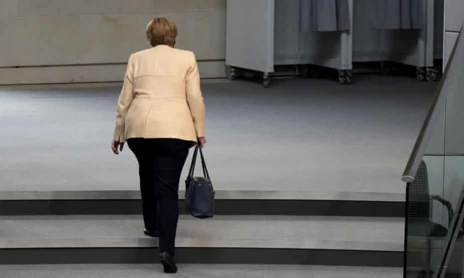 Angela Merkel leaving a pre-election debate in Berlin, Germany, September 2021