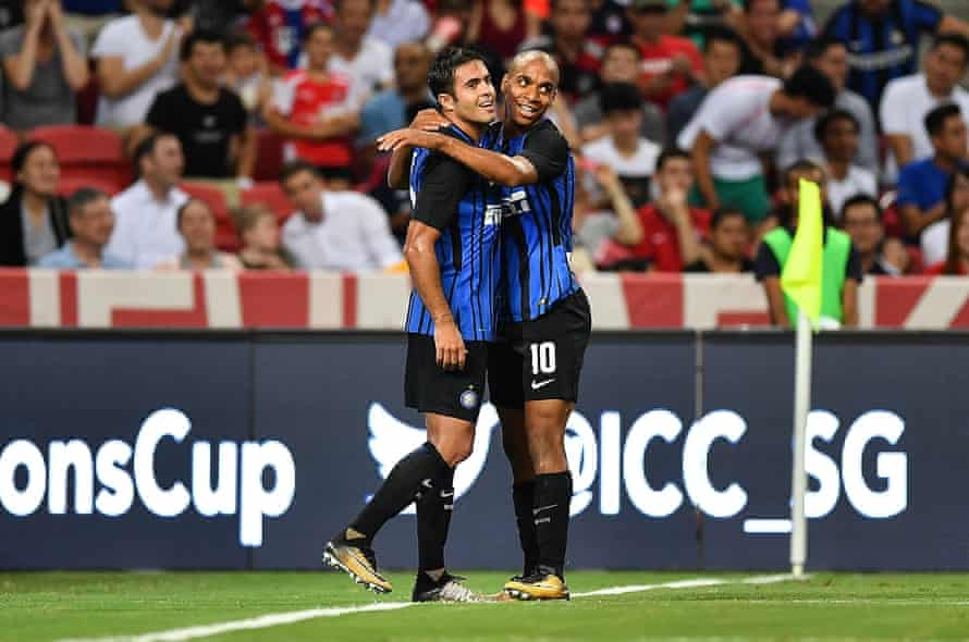 Eder and Joao Mario celebrate during the International Champions Cup match against Bayern Munich
