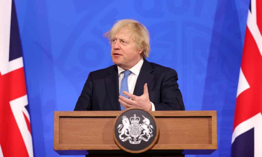Boris Johnson at the Downing Street press conference on 5 April.