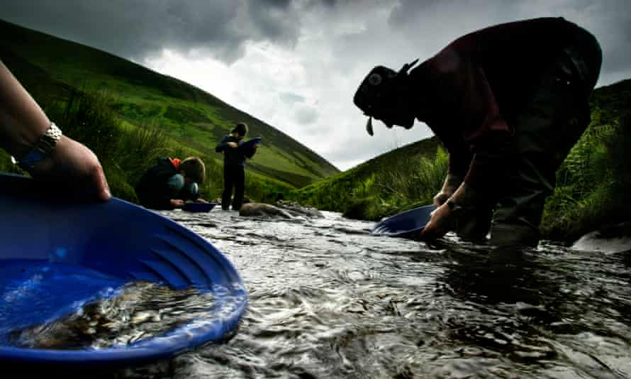 People pan for gold in a river.