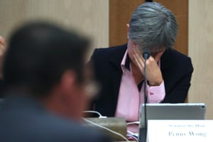 Finance and Public Administration CommitteePenny Wong shows her exasperation while questioning Senator Zed Seselja at the Finance and Public Administration Committee in Parliament House Canberra this afternoon.