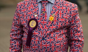 Man dressed in jacket with union flags and Ukip rosette