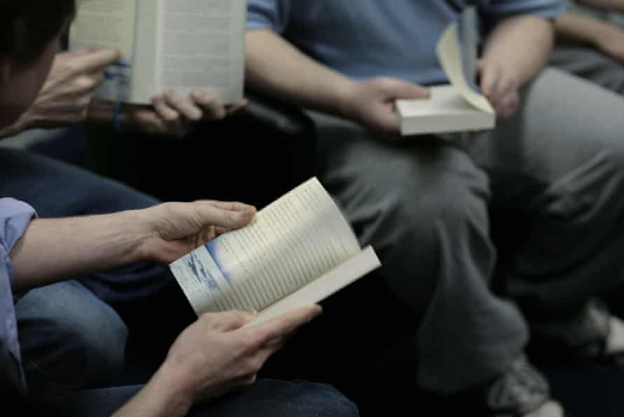 A reading group in Wandsworth prison's library.