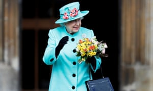The Queen at Windsor Castle for the Easter service.