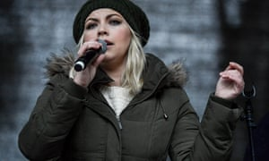 Charlotte Church sings a song about climate change at the end of the London climate march on 29 November 2015