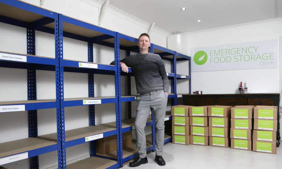 James Blake and empty shelves at his Emergency Food Storage UK.