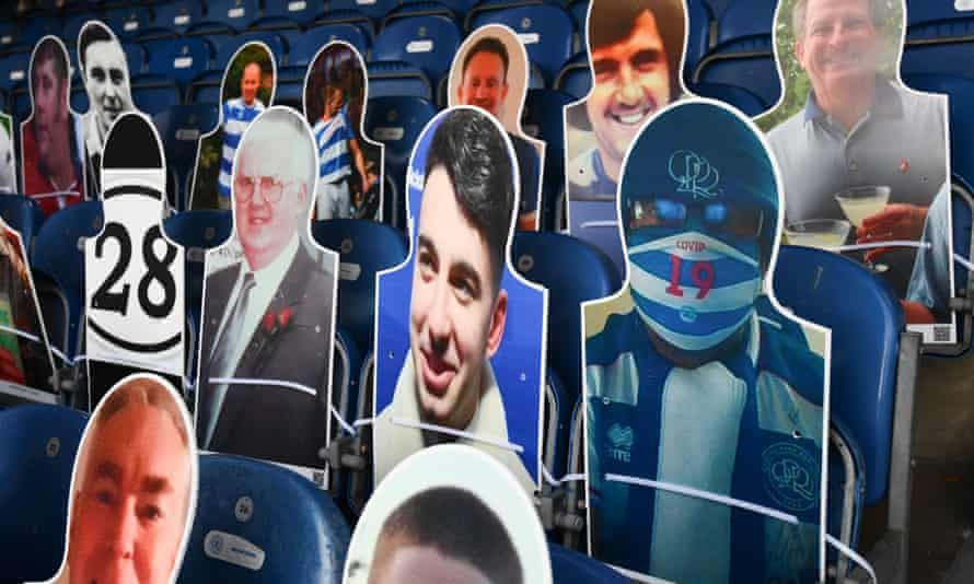 Cardboard cutouts of fans at the Championship match between QPR and Cardiff City.