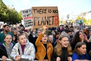 Stockholm, Sweden Climate change demonstrators protest in central Stockholm