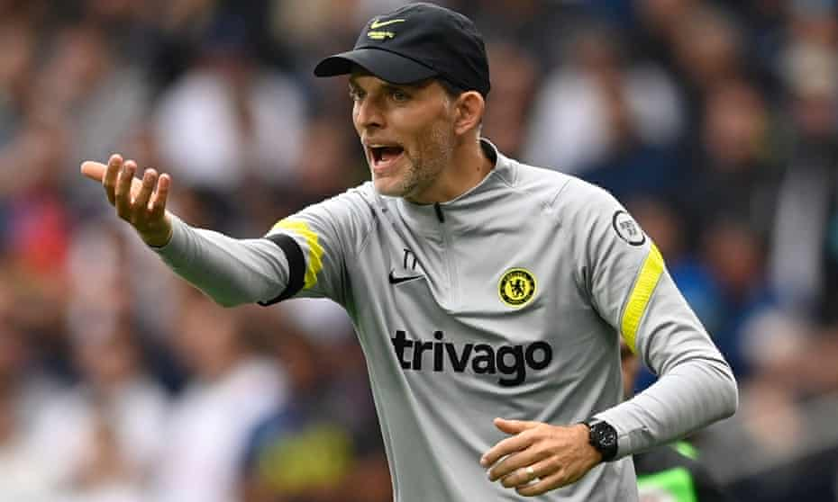 Thomas Tuchel gestures on the touchline during Chelsea's victory over Spurs