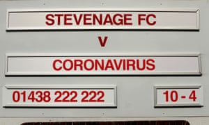 A sign outside Stevenage's stadium. The club are bottom of League Two.