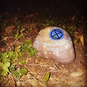 One of the #climateactionrocks placed around Adelaide, Australia on 14 April 2019