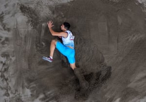 An overhead view of Doniyor Saliev of Uzbekistan during the T12 men's long jump – he managed a season's best but finished fourth, 11cm shy of the bronze.