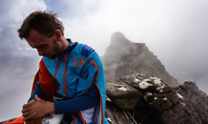 Tim Howell composes himself before jumping off the mountain.