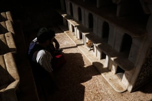 Aljaleel spends time with the cats