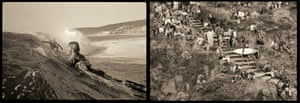 Surfing images by John Witzig. Left, Nigel Coates and Murray Smith at Smiths Beach, 1972; right, Bells Steps.