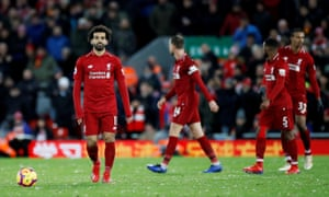 Mohamed Salah and his Liverpool teammates react after Harry Maguire's equaliser.