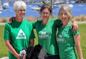 Leader of the Tasmanian Greens Cassy O'Connor (centre) with fellow Greens MPs Andrea Dawkins (left) and Rosalie Woodruff.