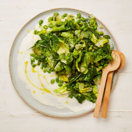 Yotam Ottolenghi's broad bean and herb salad with toum.