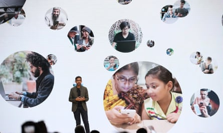 Google CEO Sundar Pichai speaks on 19 March during the GDC Game Developers Conference in San Francisco on 19 March.