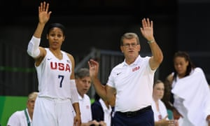 Maya Moore and Geno Auriemma motion from the bench against Serbia.