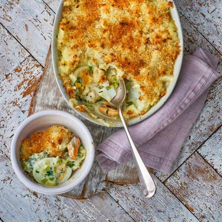 Mum's Fish Pie Gill Meller seafood recipes Observer Food Monthly March 2019 OFM Prop styling: Pene Parker