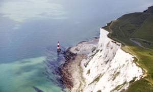 The South Downs and Beachy Head, lighthouse and Seven Sisters cliffs, Eastbourne, UK. The rate off cliff erosion has been much higher over the past 150 years, the study showed.
