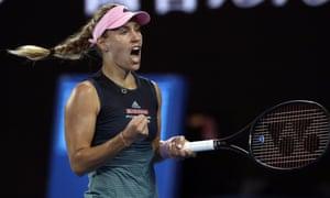 Angelique Kerber celebrates her straight sets victory over Beatriz Haddad Maia.
