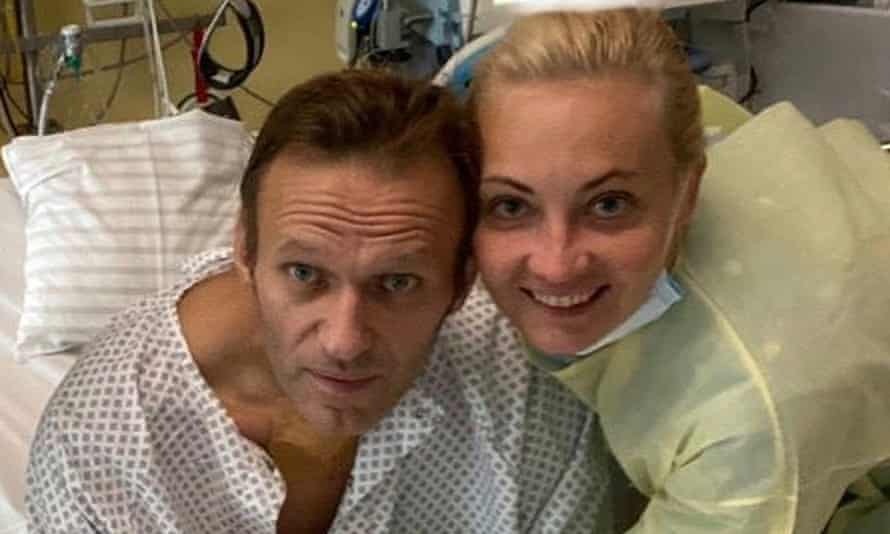 Alexei Navalny and his wife, Yulia, at Berlin's Charité hospital in September