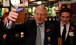 Boris Johnson campaigning at Lynch Gate Tavern, in Wolverhampton.