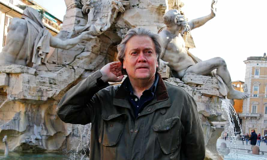 Steve Bannon in Piazza Navona in Rome in 2018.