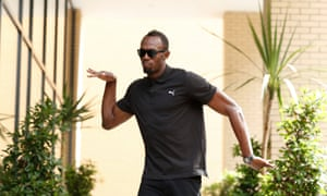 Usain Bolt arrives for his Anniversary Games press conference.