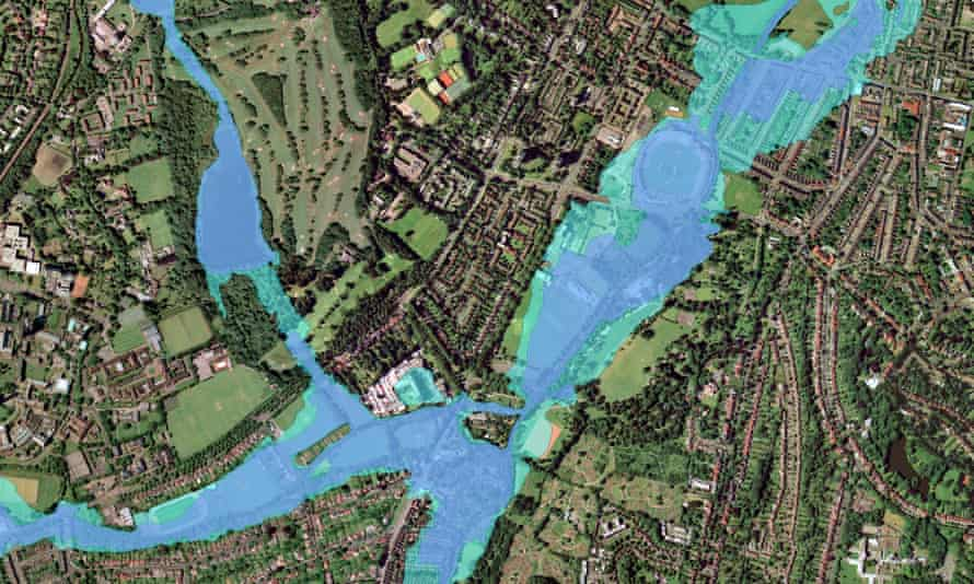 An aerial view of Birmingham that has been manipulated to show how it could look if flood defences were not put in place