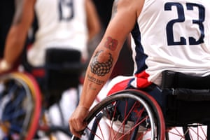 A Tokyo 2020 Paralympic logo tattoo onto the arm of Columbia's wheelchair basketball player Jhoan Vargas.