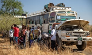A bus carrying refugees from breaks down after leaving Hamdayet refugee registration point in Eastern Sudan.