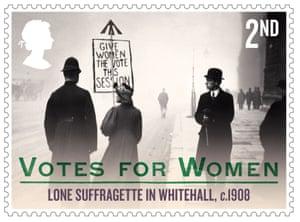 Lone suffragette in Whitehall, 1908