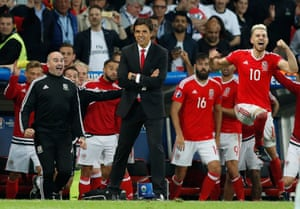 Chris Coleman and Aaron Ramsey celebrate at the final whistle.