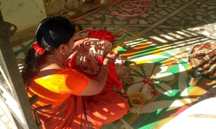 A home-based garment worker in India