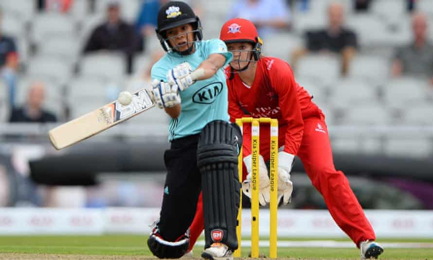Surrey Stars cricketer Sophia Dunkley plays a shot