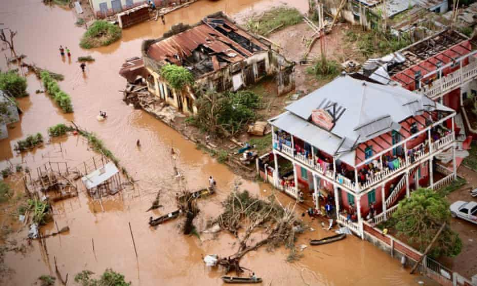 The flooded streets of Buzi, central Mozambique, after the passage of Cyclone Idai, 20 March 2019.