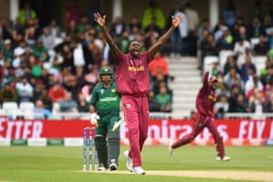West Indies' captain Jason Holder successfully appeals for the wicket of Pakistan's captain Sarfaraz Ahmed.
