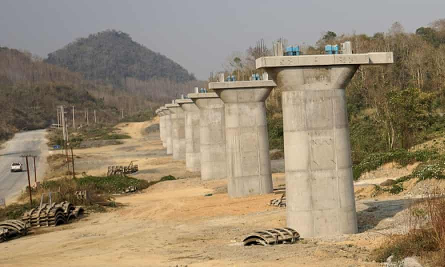 Construction has stalled on the rail line between China and Laos