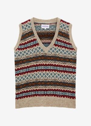 Wool fair isle tank top, £115, brora.co.uk