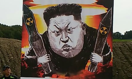A caricature of Kim Jong-un displayed by North Korean defectors launching leaflet-dropping balloons from the South's side of the demilitarised zone.