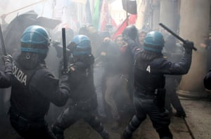 Bologna, Italy Clashes between police and demonstrators during the protest against the rally of Italian far-right movement 'Forza Nuova'